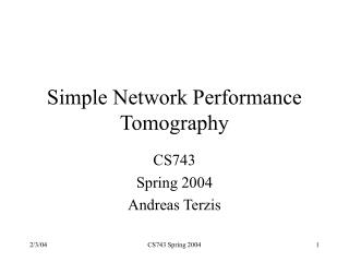 Simple Network Performance Tomography