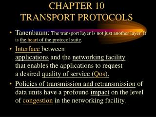 CHAPTER 10 TRANSPORT PROTOCOLS