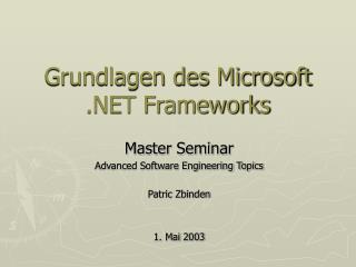 Grundlagen des Microsoft .NET Frameworks