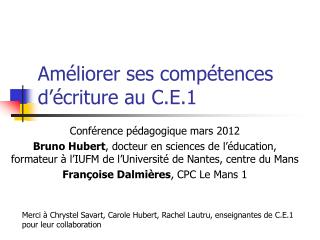 Am�liorer ses comp�tences d��criture au C.E.1