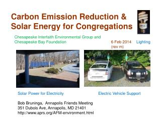 Carbon Emission Reduction & Solar Energy for Congregations