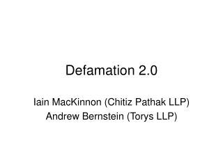 Defamation 2.0