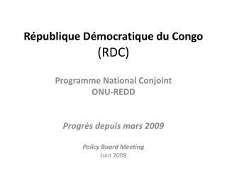 R�publique D�mocratique du Congo  (RDC)
