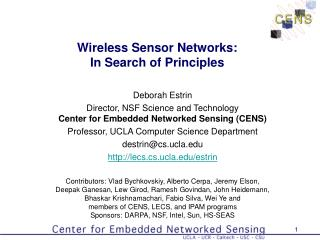 Wireless Sensor Networks: In Search of Principles