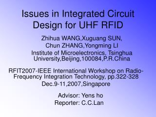 Issues in Integrated Circuit Design for UHF RFID