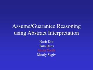 Assume/Guarantee Reasoning using Abstract Interpretation