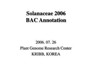 Solanaceae 2006  BAC Annotation