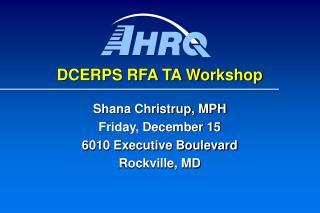 DCERPS RFA TA Workshop