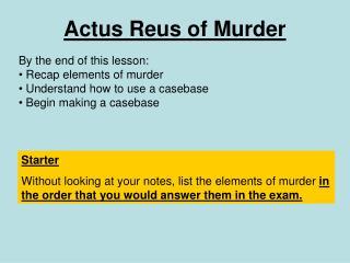 Actus Reus of Murder