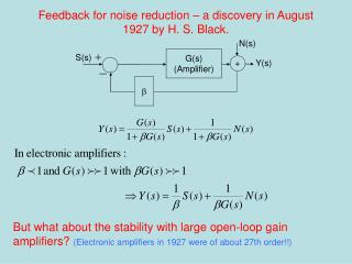 Feedback for noise reduction – a discovery in August 1927 by H. S. Black.