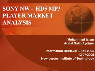 SONY NW   HD5 MP3 PLAYER MARKET ANALYSIS