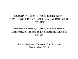 EUROPEAN SOVEREIGN BOND ETFs –  TRACKING ERRORS AND SOVEREIGN DEBT CRISIS