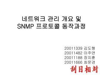 네트워크 관리 개요 및  SNMP  프로토콜 동작과정