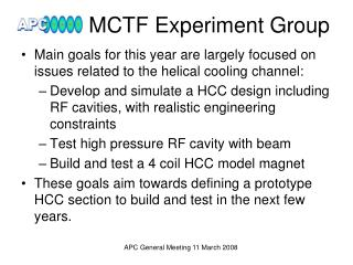 MCTF Experiment Group