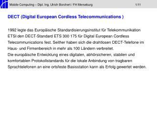 Mobile Computing – Dipl. Ing. Ulrich Borchert / FH Merseburg1/11