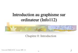 Introduction au graphisme sur ordinateur (Info112)