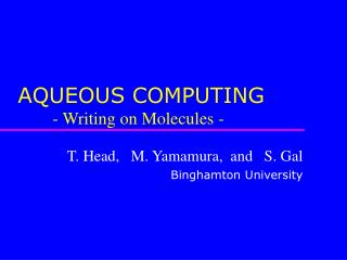 AQUEOUS COMPUTING 	- Writing on Molecules -