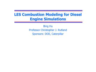 LES Combustion Modeling for Diesel Engine Simulations