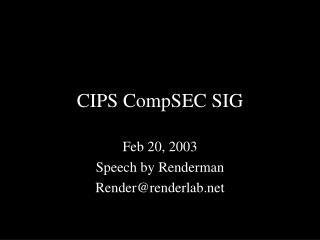 CIPS CompSEC SIG