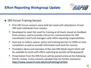 Effort Reporting Workgroup Update