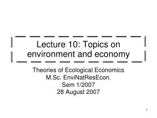 Lecture 10: Topics on  environment and economy