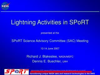 Lightning Activities in SPoRT