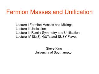 Fermion Masses and Unification