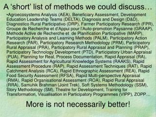 A 'short' list of methods we could discuss…