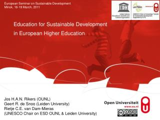 Education for Sustainable Development  in European Higher Education