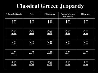 Classical Greece Jeopardy