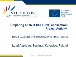 Preparing an INTERREG IVC application: Project Activity