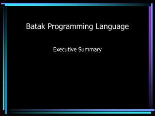 Batak Programming Language