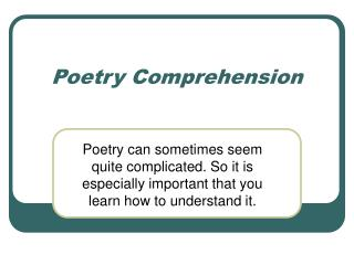 Poetry Comprehension
