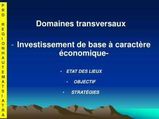 Domaines transversaux Investissement de base à caractère économique- ETAT DES LIEUX  OBJECTIF
