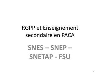 RGPP et Enseignement secondaire en PACA