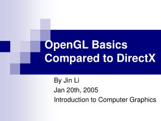 OpenGL Basics Compared to DirectX