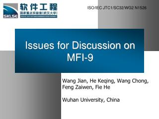 Issues for Discussion on MFI-9