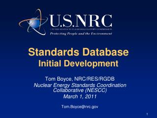 Standards Database  Initial Development