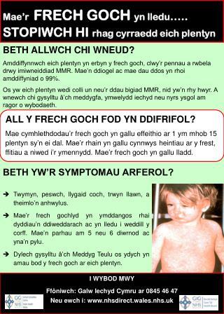 BETH YW'R SYMPTOMAU ARFEROL?