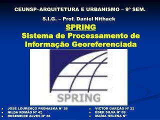 CEUNSP–ARQUITETURA E URBANISMO – 9º SEM. S.I.G. – Prof. Daniel Nithack