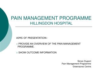 PAIN MANAGEMENT PROGRAMME HILLINGDON HOSPITAL