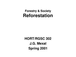 Forestry & Society Reforestation