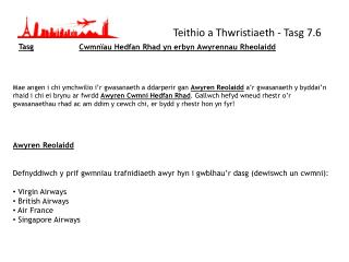Teithio a Thwristiaeth - Tasg 7.6