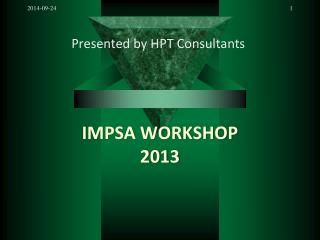 IMPSA WORKSHOP 2013