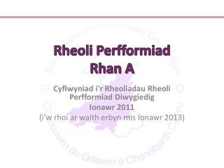 Rheoli Perfformiad Rhan A