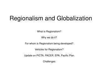 Regionalism and Globalization