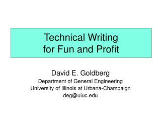 Technical Writing  for Fun and Profit