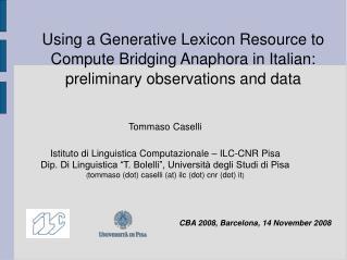 Using a Generative Lexicon Resource to Compute Bridging Anaphora in Italian: