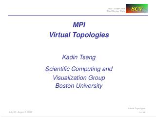 MPI  Virtual Topologies Kadin Tseng Scientific Computing and Visualization Group Boston University