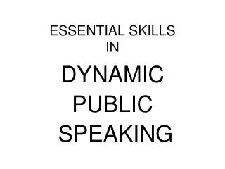 ESSENTIAL SKILLS IN